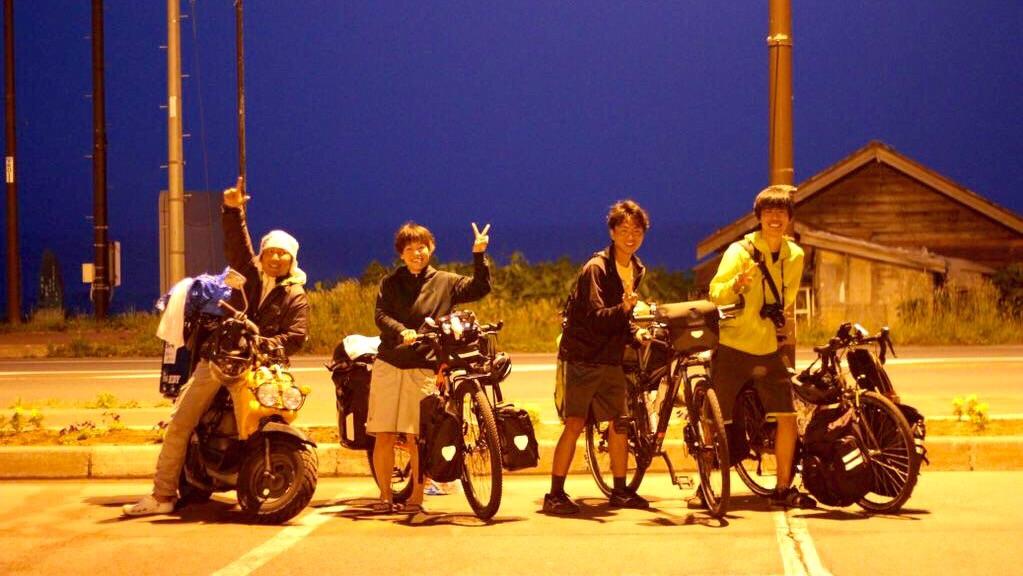 【日本一周】道の駅だヨ!旅人全員集合!原チャリダーと女性チャリダー。