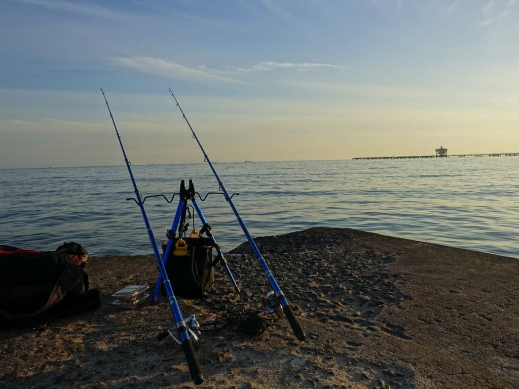 須磨海岸にて、ちょい投げ釣りでカレイ・落ちギス調査!