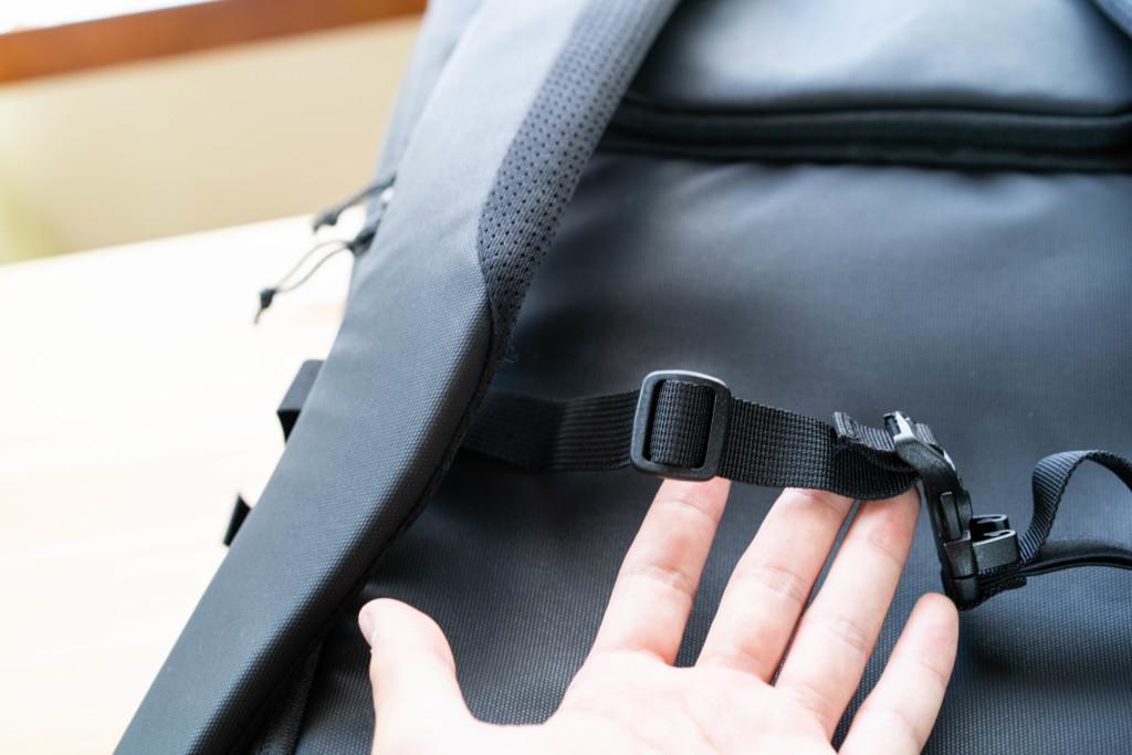 e9cf488acbeb 今回は、新しく海外旅行用に購入した「MAMMUT セオンカーゴ35」にチェストベルトを取り付けていきます。大容量なのに各種ベルト 類が一切ないので、後付けが必須。
