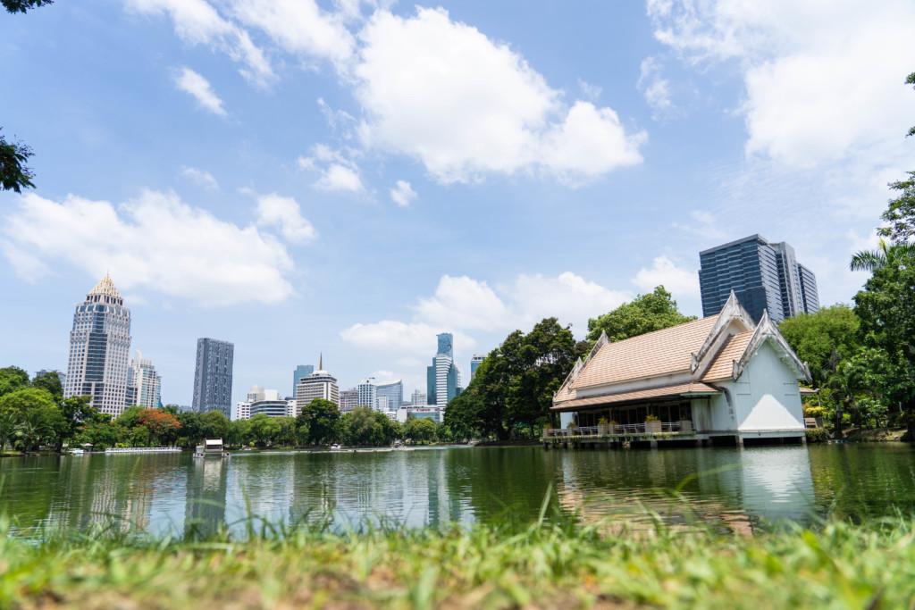 タイ・バンコクの巨大な都市公園「ルンピニー公園」で水オオトカゲを追う!